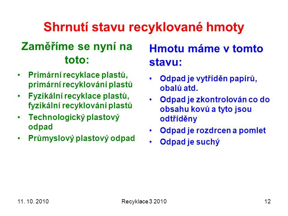 Shrnutí stavu recyklované hmoty Zaměříme se nyní na toto: Primární recyklace plastů, primární recyklování plastů Fyzikální recyklace plastů, fyzikální recyklování plastů Technologický plastový odpad Průmyslový plastový odpad Hmotu máme v tomto stavu: Odpad je vytříděn papírů, obalů atd.