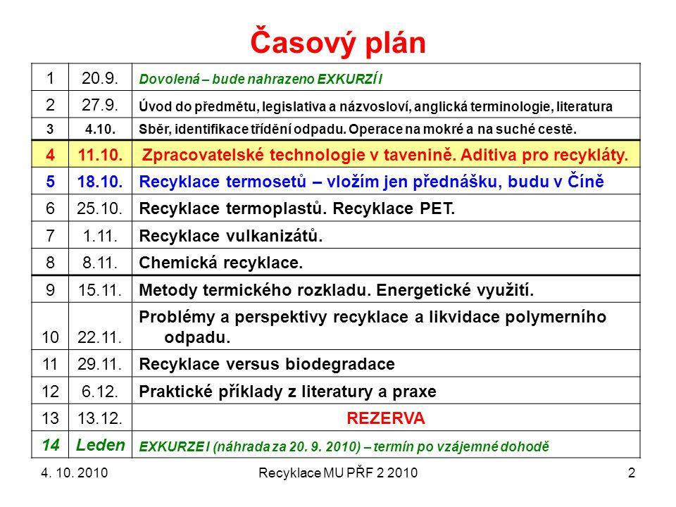 Recyklace MU PŘF 2 20102 Časový plán 120.9.Dovolená – bude nahrazeno EXKURZÍ I 227.9.