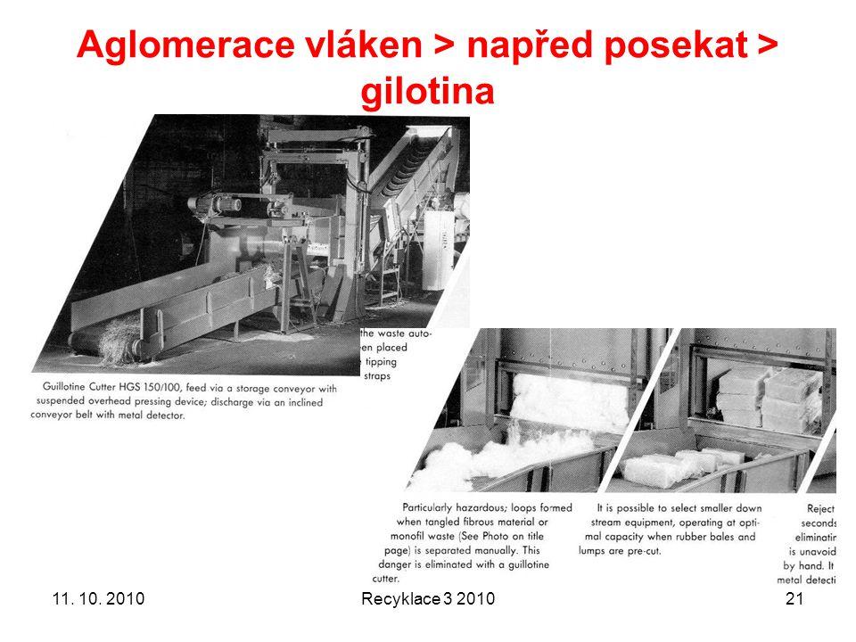 Aglomerace vláken > napřed posekat > gilotina Recyklace 3 20102111. 10. 2010