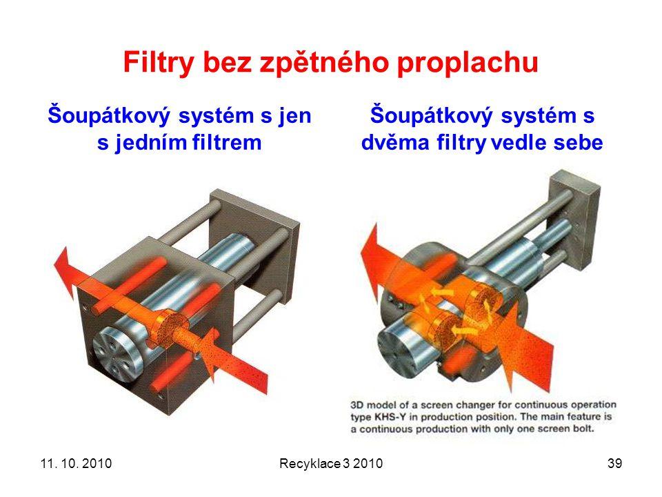 Filtry bez zpětného proplachu Šoupátkový systém s jen s jedním filtrem Šoupátkový systém s dvěma filtry vedle sebe Recyklace 3 20103911. 10. 2010