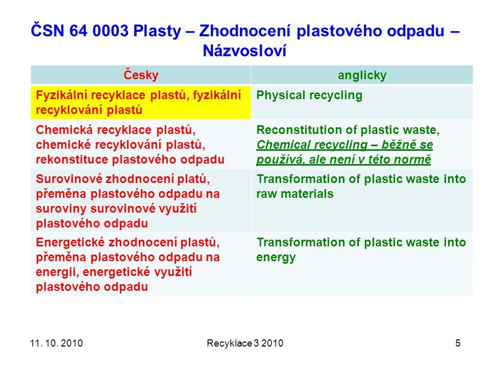 ČSN 64 0003 Plasty – Zhodnocení plastového odpadu – Názvosloví Českyanglicky Fyzikální recyklace plastů, fyzikální recyklování plastů Physical recycling Chemická recyklace plastů, chemické recyklování plastů, rekonstituce plastového odpadu Reconstitution of plastic waste, Chemical recycling – běžně se používá, ale není v této normě Surovinové zhodnocení platů, přeměna plastového odpadu na suroviny surovinové využití plastového odpadu Transformation of plastic waste into raw materials Energetické zhodnocení plastů, přeměna plastového odpadu na energii, energetické využití plastového odpadu Transformation of plastic waste into energy Recyklace 3 2010511.