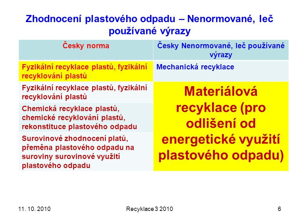 Zhodnocení plastového odpadu – Nenormované, leč používané výrazy Česky normaČesky Nenormované, leč používané výrazy Fyzikální recyklace plastů, fyzikální recyklování plastů Mechanická recyklace Fyzikální recyklace plastů, fyzikální recyklování plastů Materiálová recyklace (pro odlišení od energetické využití plastového odpadu) Chemická recyklace plastů, chemické recyklování plastů, rekonstituce plastového odpadu Surovinové zhodnocení platů, přeměna plastového odpadu na suroviny surovinové využití plastového odpadu Recyklace 3 2010611.