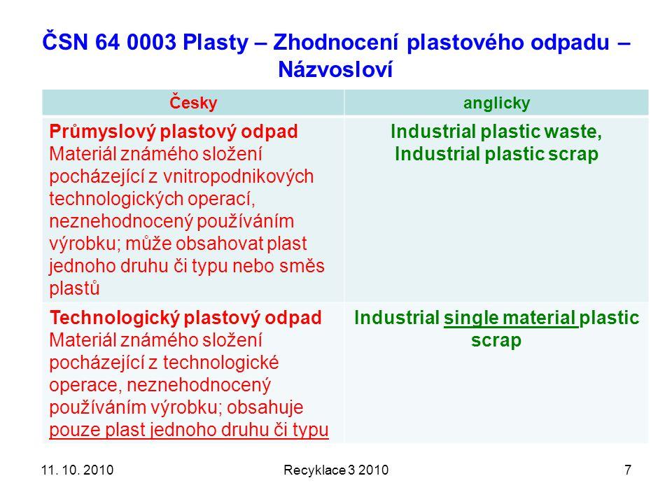 ČSN 64 0003 Plasty – Zhodnocení plastového odpadu – Názvosloví Českyanglicky Průmyslový plastový odpad Materiál známého složení pocházející z vnitropodnikových technologických operací, neznehodnocený používáním výrobku; může obsahovat plast jednoho druhu či typu nebo směs plastů Industrial plastic waste, Industrial plastic scrap Technologický plastový odpad Materiál známého složení pocházející z technologické operace, neznehodnocený používáním výrobku; obsahuje pouze plast jednoho druhu či typu Industrial single material plastic scrap Recyklace 3 2010711.
