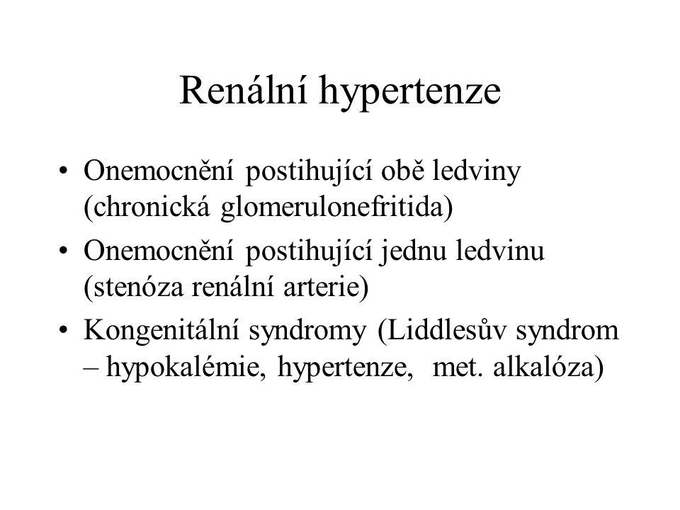 Renální hypertenze Onemocnění postihující obě ledviny (chronická glomerulonefritida) Onemocnění postihující jednu ledvinu (stenóza renální arterie) Ko