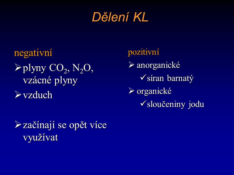 Iodové vodné KL monomerní  tvořeny jedním benzenovým jádrem  Ionické Telebrix, Iodamide Telebrix, Iodamide  Neionické Iomeron, Ultravist, Omnipaque Iomeron, Ultravist, Omnipaquedimerní  tvořeny spojením dvou benzenových jader  Ionické Hexabrix Hexabrix  Neionické Isovist, Visipaque Isovist, Visipaque