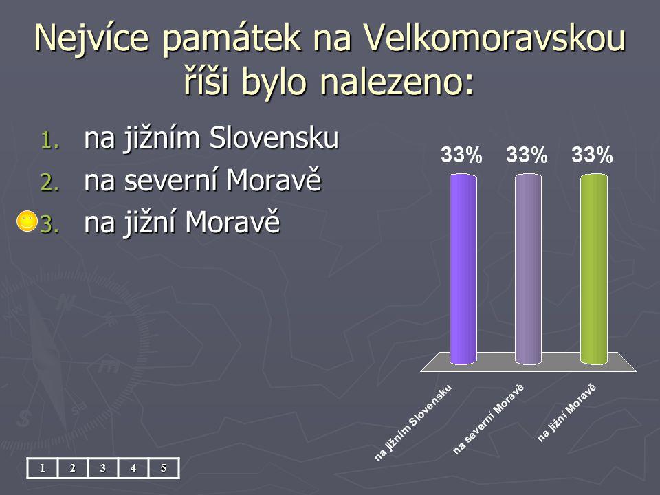 Nejvíce památek na Velkomoravskou říši bylo nalezeno: 12345 1. na jižním Slovensku 2. na severní Moravě 3. na jižní Moravě