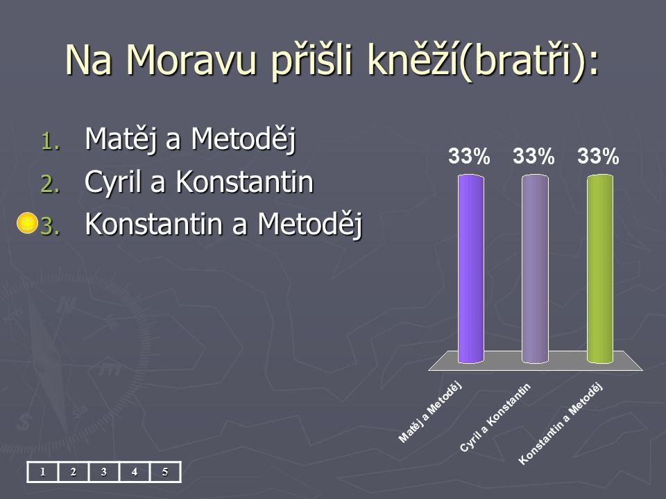Na Moravu přišli kněží(bratři): 1. Matěj a Metoděj 2. Cyril a Konstantin 3. Konstantin a Metoděj 12345