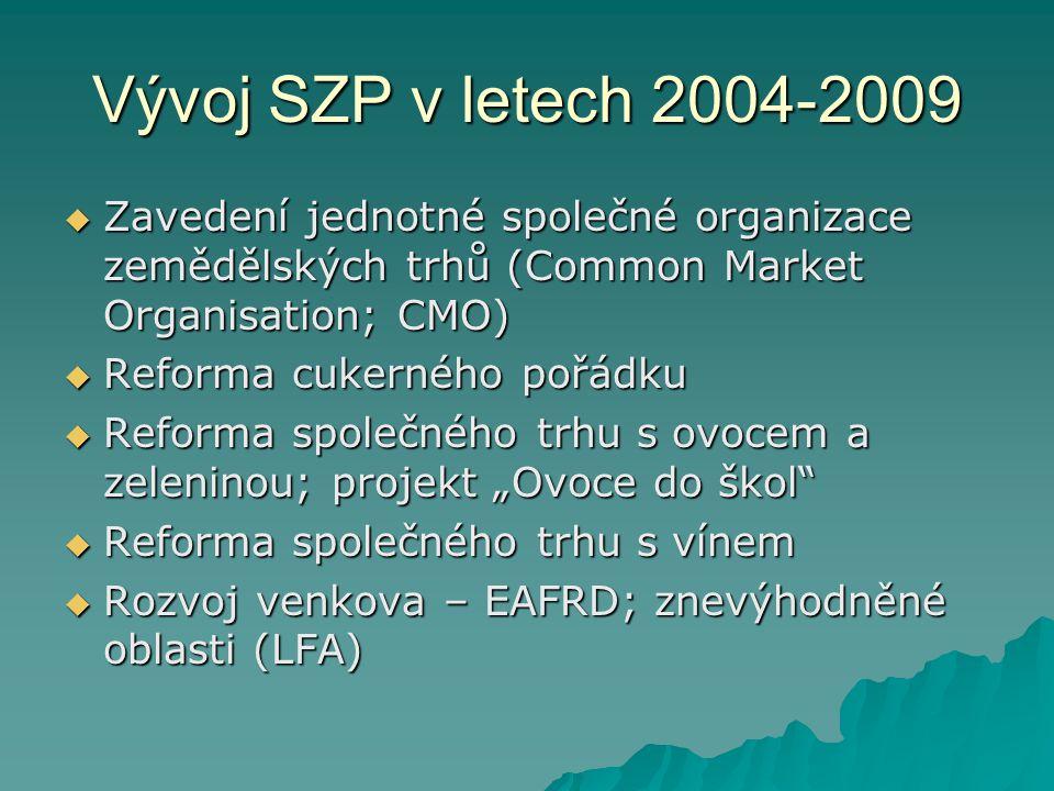 """Vývoj SZP v letech 2004-2009  Zavedení jednotné společné organizace zemědělských trhů (Common Market Organisation; CMO)  Reforma cukerného pořádku  Reforma společného trhu s ovocem a zeleninou; projekt """"Ovoce do škol  Reforma společného trhu s vínem  Rozvoj venkova – EAFRD; znevýhodněné oblasti (LFA)"""