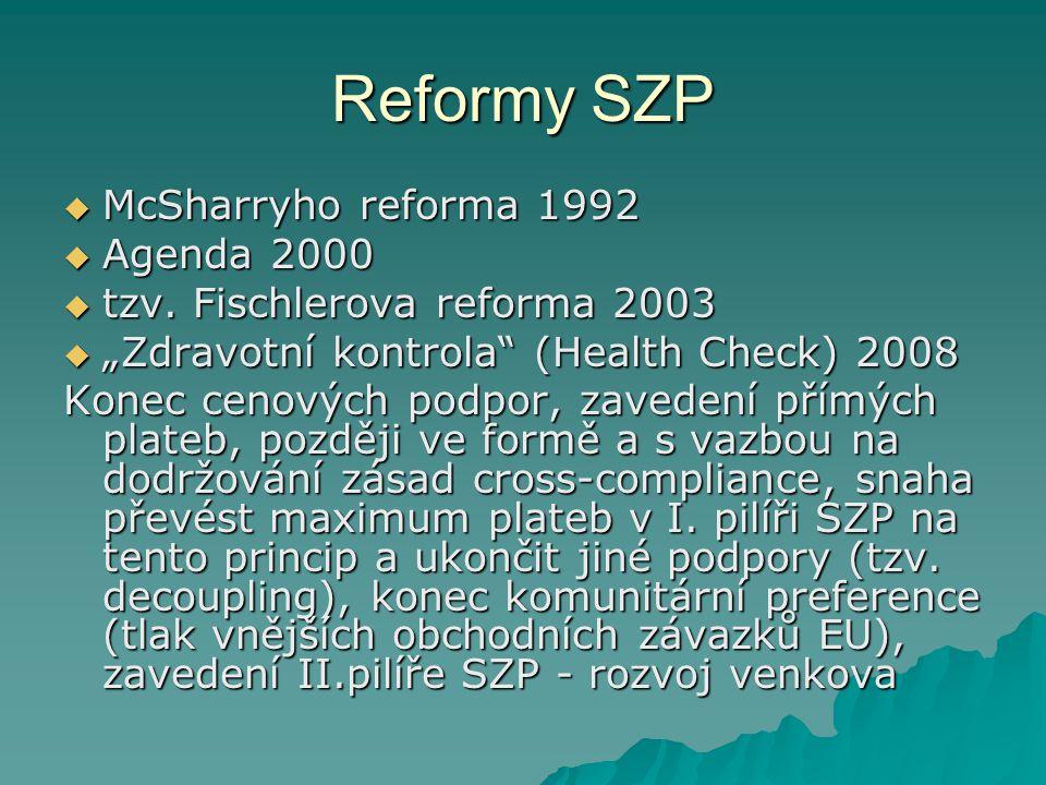 Výsledky reforem  Oddělení plateb od produkce ve většině komodit  Regulativní principy stále přetrvávaly u některých komodit (cukr, víno, částečně ovoce a zelenina) – následovaly dílčí reformy konkrétních oblastí  Přetrvává kvótní systém u některých komodit