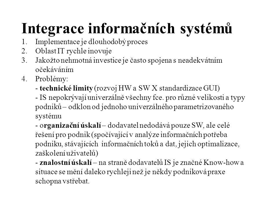 Integrace informačních systémů 1.Implementace je dlouhodobý proces 2.Oblast IT rychle inovuje 3.Jakožto nehmotná investice je často spojena s neadekvátním očekáváním 4.Problémy: - technické limity (rozvoj HW a SW X standardizace GUI) - IS nepokrývají univerzálně všechny fce.
