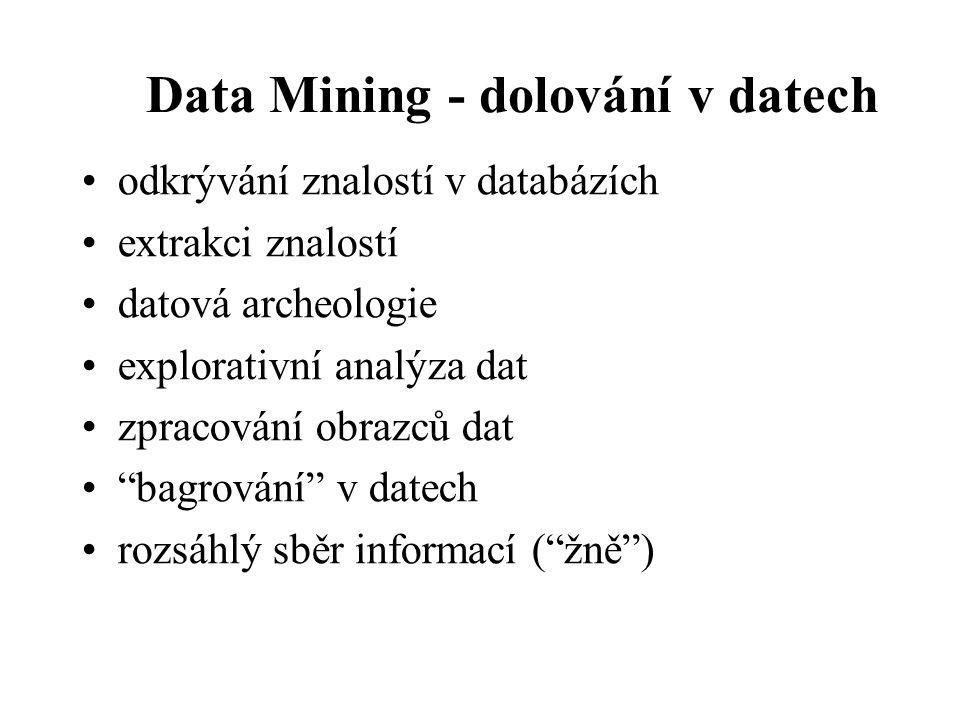 Data Mining - dolování v datech odkrývání znalostí v databázích extrakci znalostí datová archeologie explorativní analýza dat zpracování obrazců dat bagrování v datech rozsáhlý sběr informací ( žně )