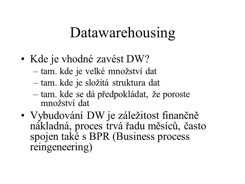Datawarehousing Kde je vhodné zavést DW. –tam. kde je velké množství dat –tam.