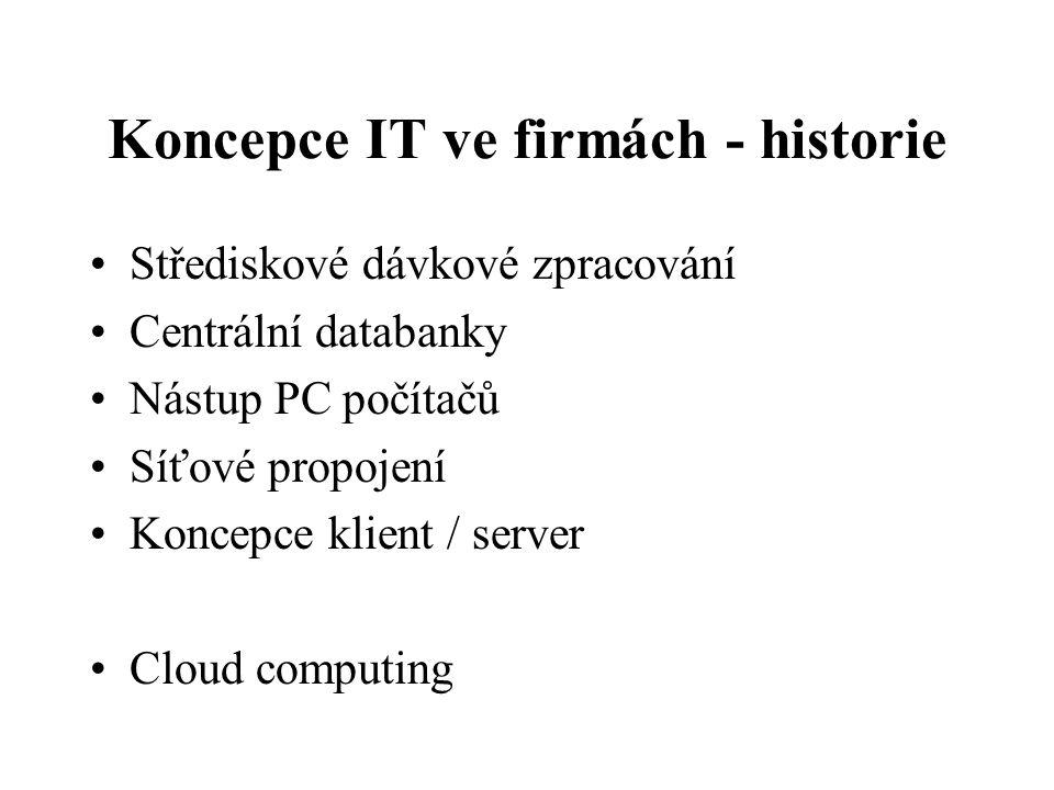 Koncepce IT ve firmách - historie Střediskové dávkové zpracování Centrální databanky Nástup PC počítačů Síťové propojení Koncepce klient / server Cloud computing