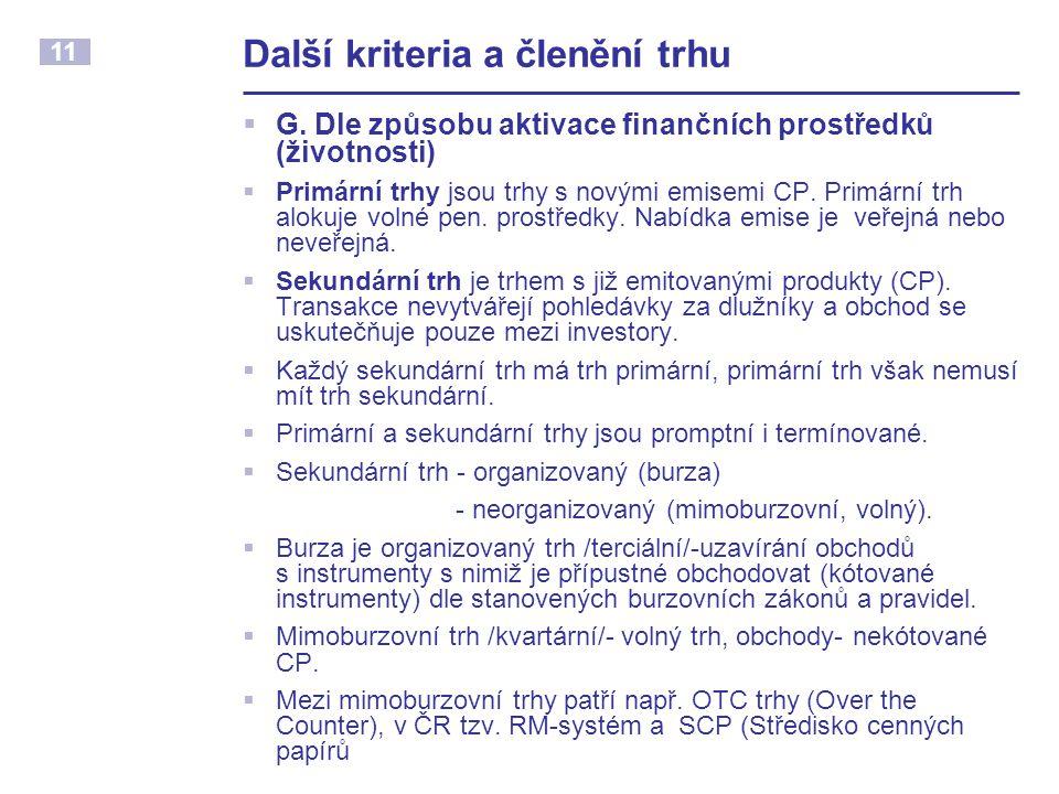 11 Další kriteria a členění trhu  G.
