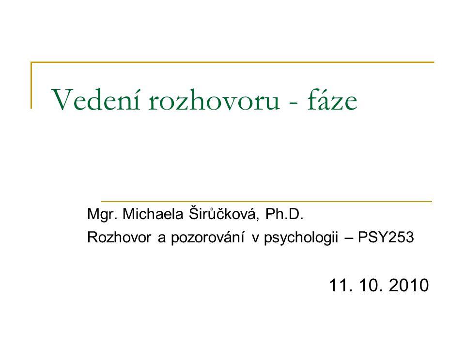 Vedení rozhovoru - fáze Mgr. Michaela Širůčková, Ph.D.