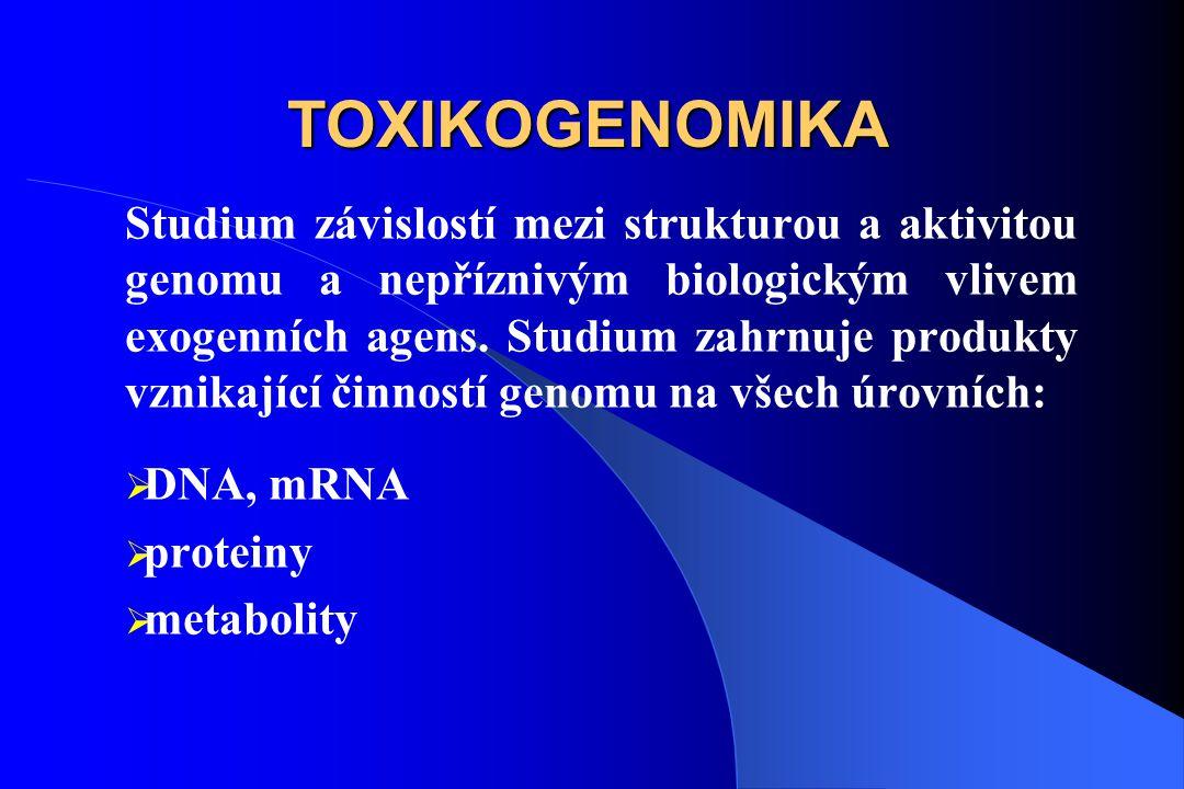 TOXIKOGENOMIKA Studium závislostí mezi strukturou a aktivitou genomu a nepříznivým biologickým vlivem exogenních agens.