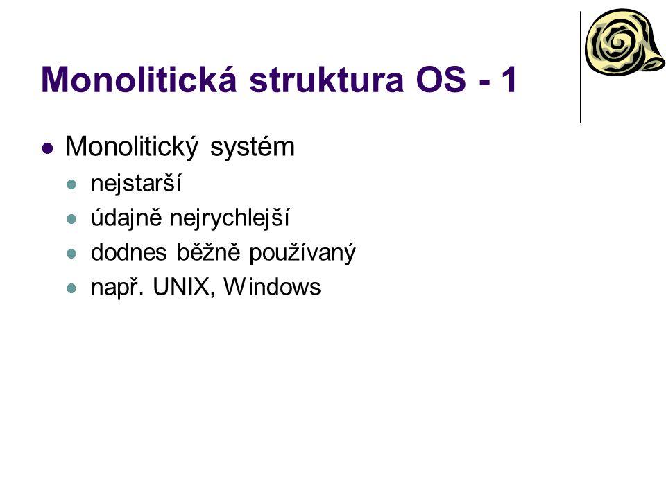 Monolitická struktura OS - 1 Monolitický systém nejstarší údajně nejrychlejší dodnes běžně používaný např. UNIX, Windows