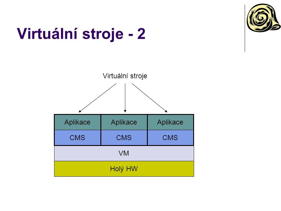 Virtuální stroje - 2 Holý HW VM CMS Aplikace Virtuální stroje