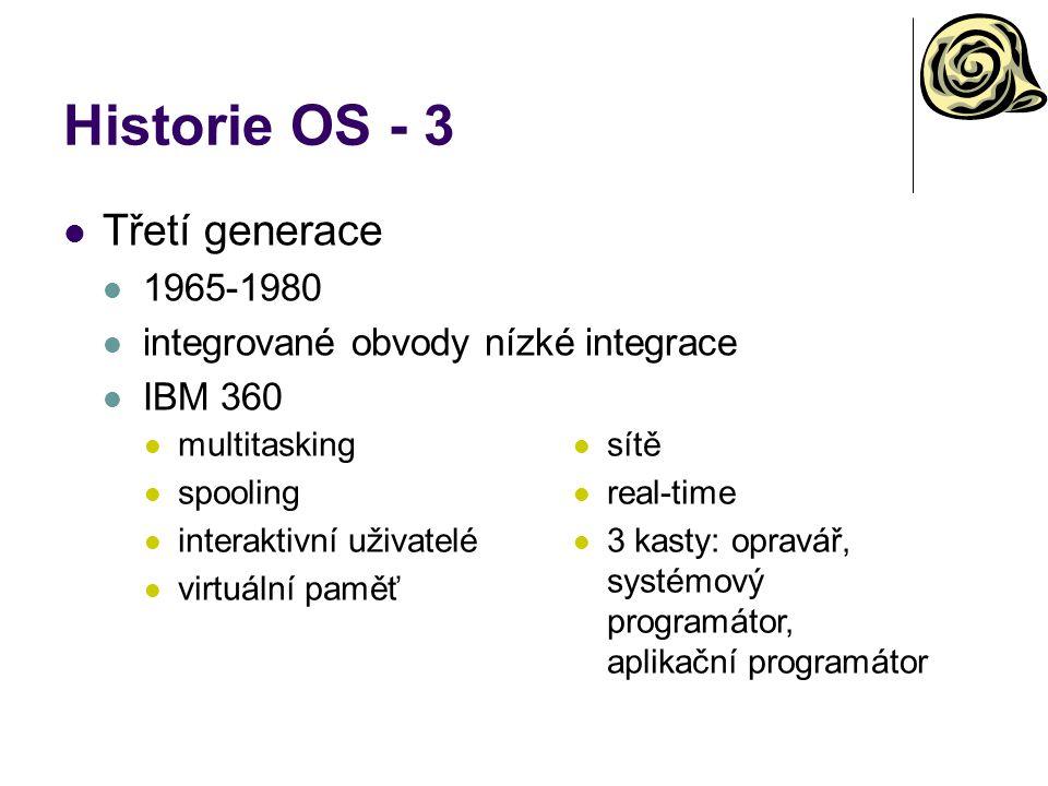 Historie OS - 3 Třetí generace 1965-1980 integrované obvody nízké integrace IBM 360 multitasking spooling interaktivní uživatelé virtuální paměť sítě