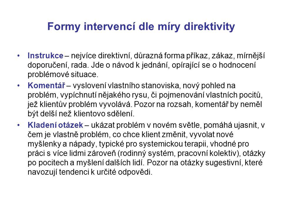Formy intervencí dle míry direktivity Instrukce – nejvíce direktivní, důrazná forma příkaz, zákaz, mírnější doporučení, rada. Jde o návod k jednání, o