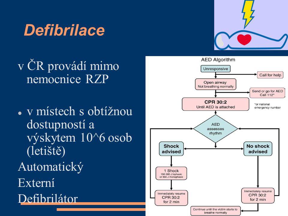 Defibrilace v ČR provádí mimo nemocnice RZP v místech s obtížnou dostupností a výskytem 10^6 osob (letiště) Automatický Externí Defibrilátor