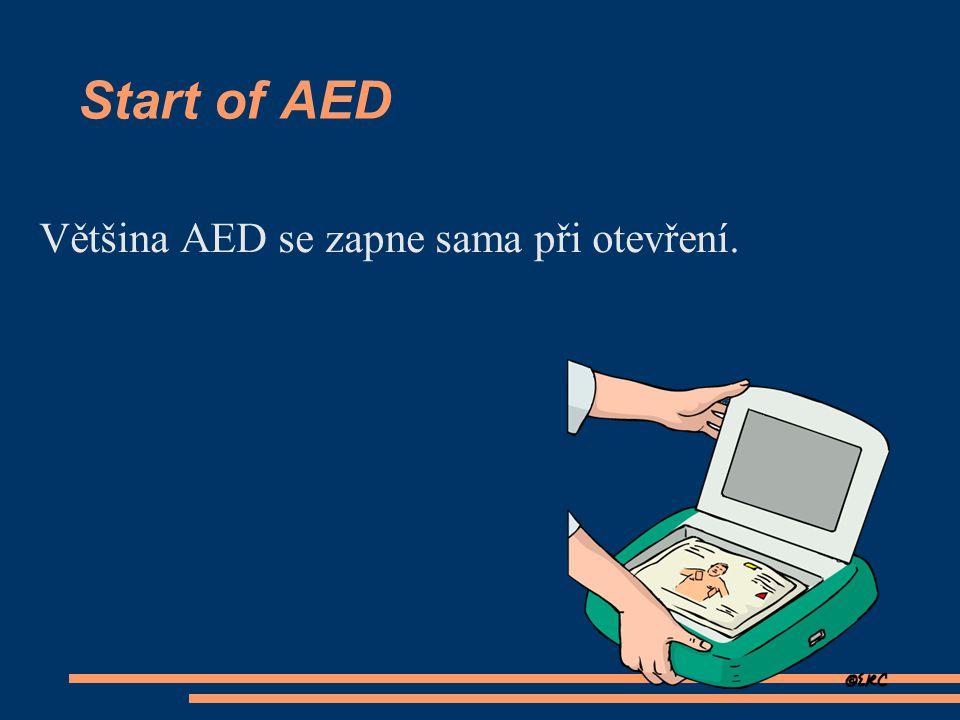 Start of AED Většina AED se zapne sama při otevření.