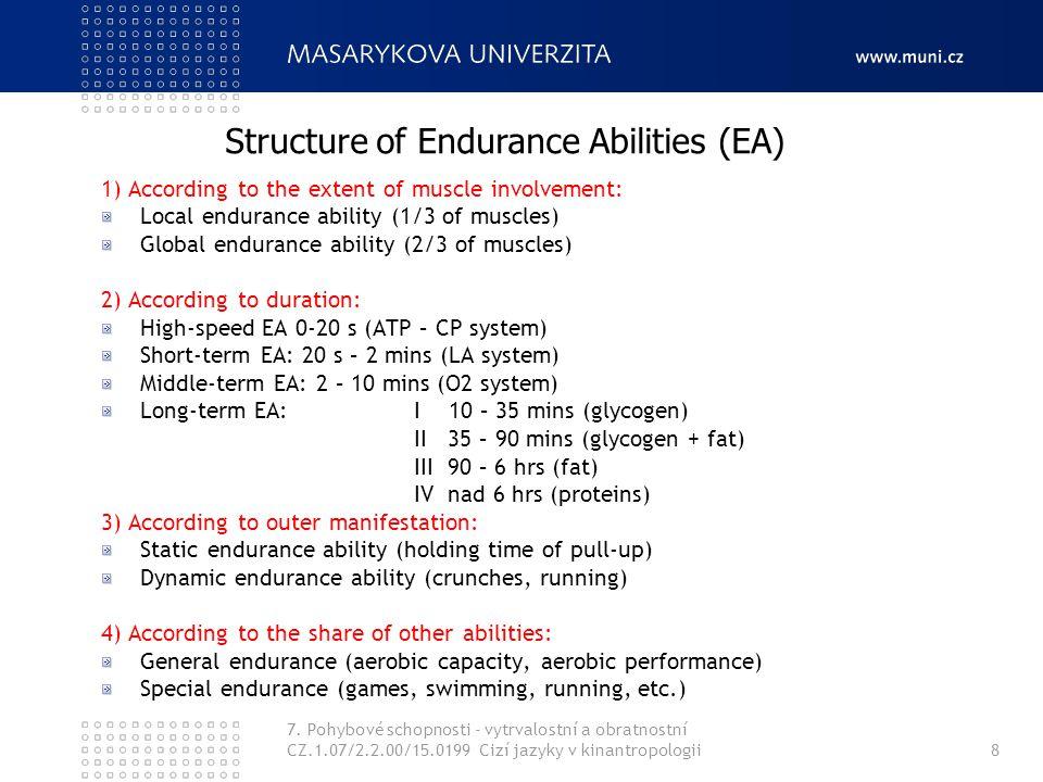 7. Pohybové schopnosti - vytrvalostní a obratnostní CZ.1.07/2.2.00/15.0199 Cizí jazyky v kinantropologii8 1) According to the extent of muscle involve