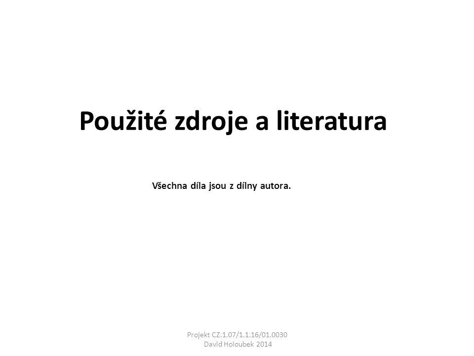 Použité zdroje a literatura Všechna díla jsou z dílny autora. Projekt CZ.1.07/1.1.16/01.0030 David Holoubek 2014