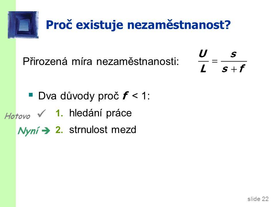 slide 22 Proč existuje nezaměstnanost.  Dva důvody proč f < 1: 1.