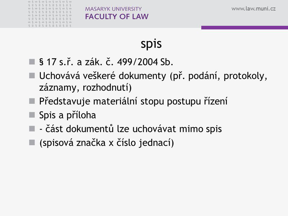 www.law.muni.cz spis § 17 s.ř. a zák. č. 499/2004 Sb. Uchovává veškeré dokumenty (př. podání, protokoly, záznamy, rozhodnutí) Představuje materiální s
