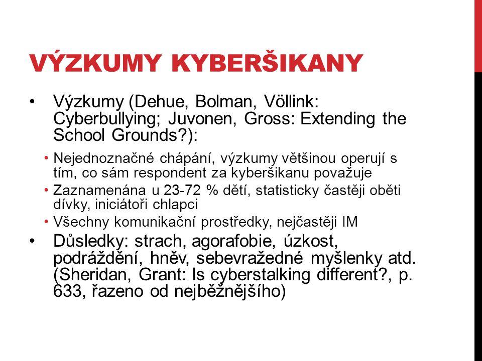 VÝZKUMY KYBERŠIKANY Výzkumy (Dehue, Bolman, Völlink: Cyberbullying; Juvonen, Gross: Extending the School Grounds?): Nejednoznačné chápání, výzkumy vět