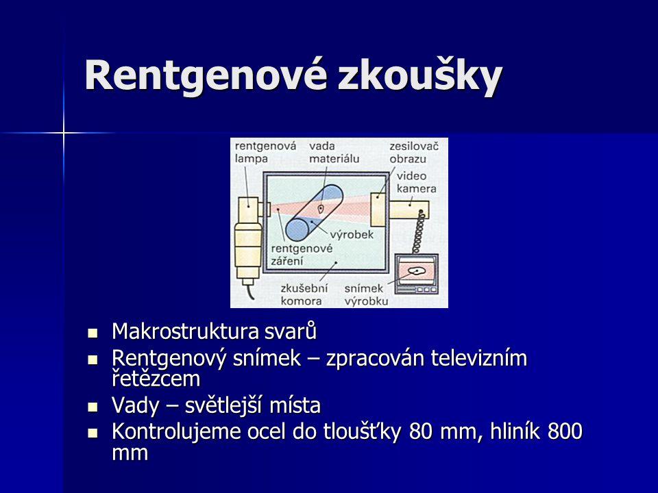 Rentgenové zkoušky Makrostruktura svarů Makrostruktura svarů Rentgenový snímek – zpracován televizním řetězcem Rentgenový snímek – zpracován televizní