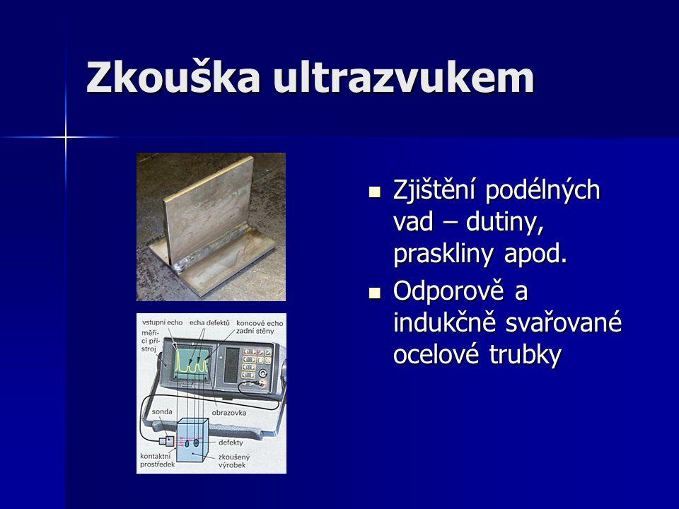 Zkouška ultrazvukem Zjištění podélných vad – dutiny, praskliny apod. Zjištění podélných vad – dutiny, praskliny apod. Odporově a indukčně svařované oc