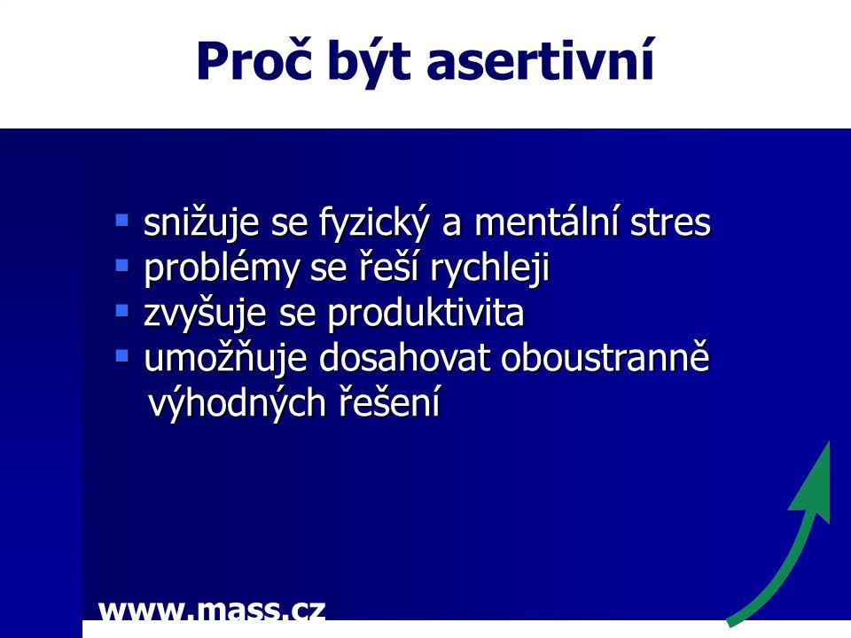 www.mass.cz Proč být asertivní  snižuje se fyzický a mentální stres  problémy se řeší rychleji  zvyšuje se produktivita  umožňuje dosahovat oboustranně výhodných řešení výhodných řešení