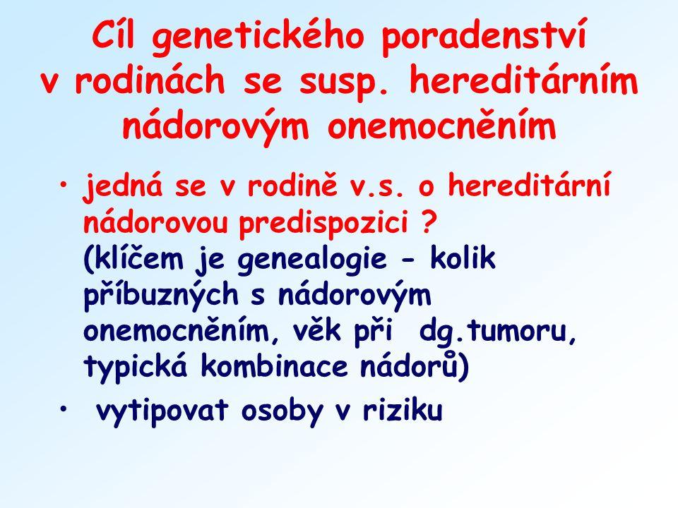 Cíl genetického poradenství v rodinách se susp. hereditárním nádorovým onemocněním jedná se v rodině v.s. o hereditární nádorovou predispozici ? (klíč
