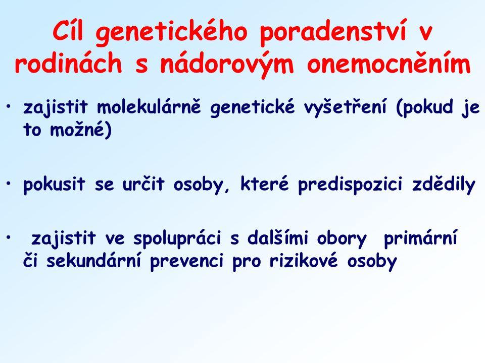 Cíl genetického poradenství v rodinách s nádorovým onemocněním zajistit molekulárně genetické vyšetření (pokud je to možné) pokusit se určit osoby, kt