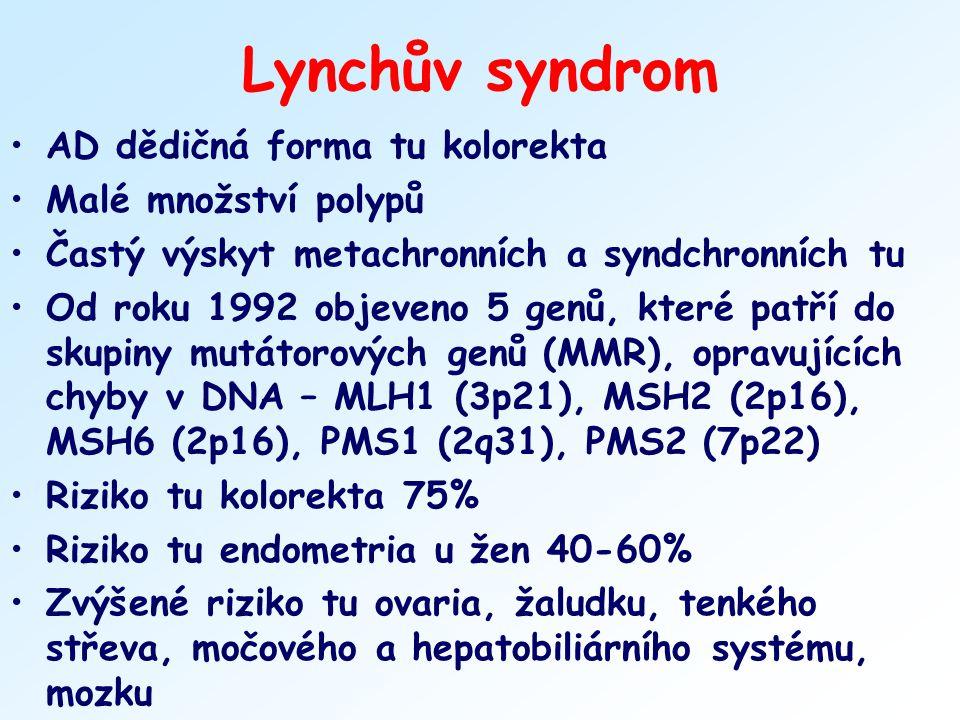 Lynchův syndrom AD dědičná forma tu kolorekta Malé množství polypů Častý výskyt metachronních a syndchronních tu Od roku 1992 objeveno 5 genů, které p