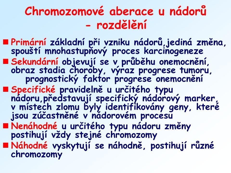 Chromozomové aberace u nádorů - rozdělění nPrimární základní při vzniku nádorů,jediná změna, spouští mnohastupňový proces karcinogeneze nSekundární ob