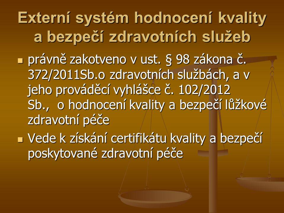 Externí systém hodnocení kvality a bezpečí zdravotních služeb právně zakotveno v ust. § 98 zákona č. 372/2011Sb.o zdravotních službách, a v jeho prová