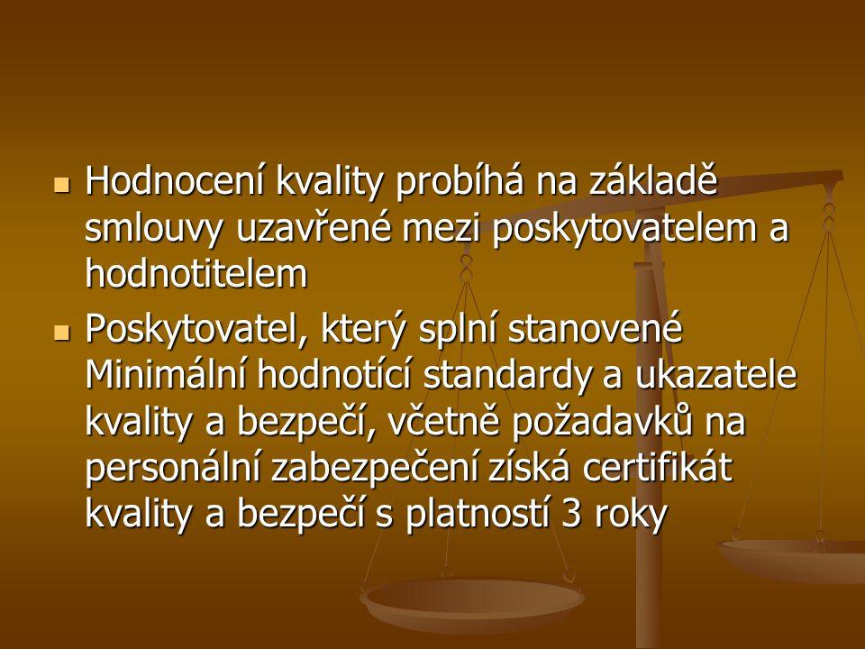 Hodnocení kvality probíhá na základě smlouvy uzavřené mezi poskytovatelem a hodnotitelem Hodnocení kvality probíhá na základě smlouvy uzavřené mezi po