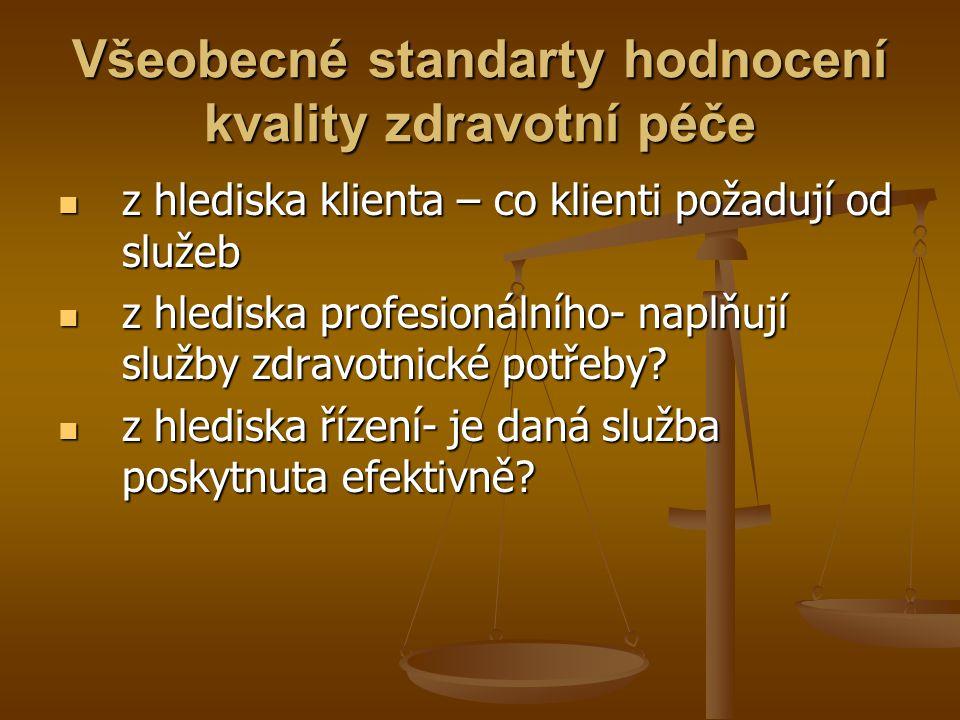 Hodnocení kvality a bezpečí zdravotních služeb v ČR zakotveno v zákoně č.