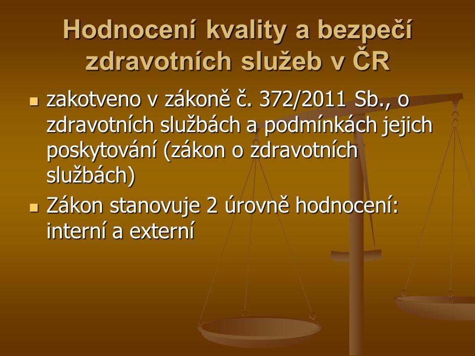 Hodnocení kvality a bezpečí zdravotních služeb v ČR zakotveno v zákoně č. 372/2011 Sb., o zdravotních službách a podmínkách jejich poskytování (zákon