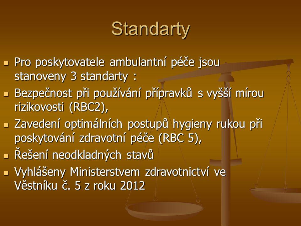 Standarty Pro poskytovatele ambulantní péče jsou stanoveny 3 standarty : Pro poskytovatele ambulantní péče jsou stanoveny 3 standarty : Bezpečnost při