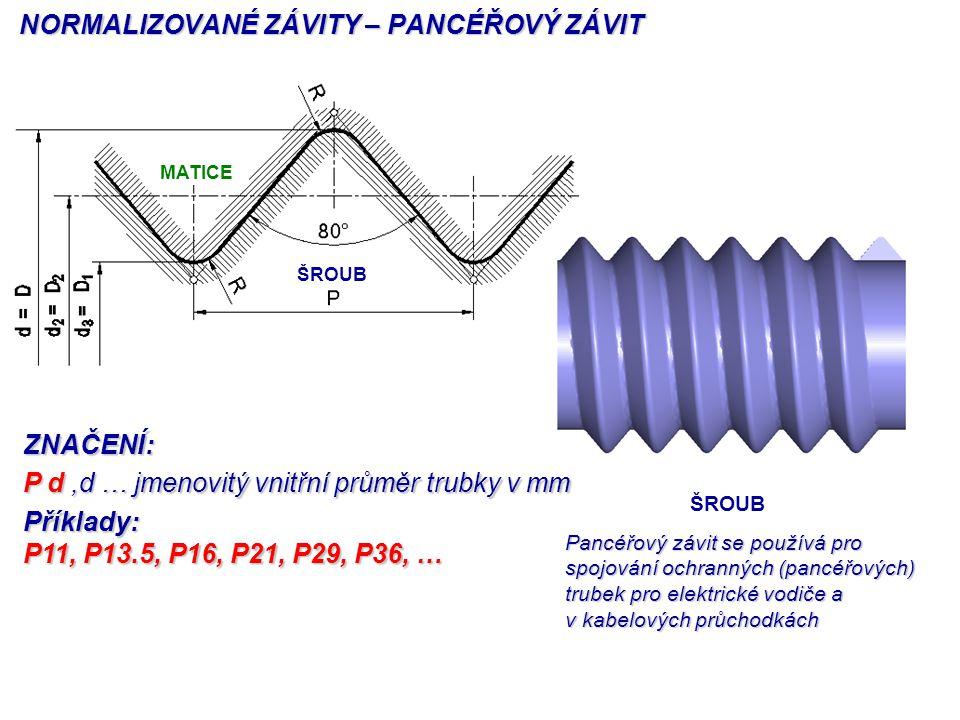 ZNAČENÍ: P d,d … jmenovitý vnitřní průměr trubky v mm Příklady: P11, P13.5, P16, P21, P29, P36, … MATICE ŠROUB NORMALIZOVANÉ ZÁVITY – PANCÉŘOVÝ ZÁVIT