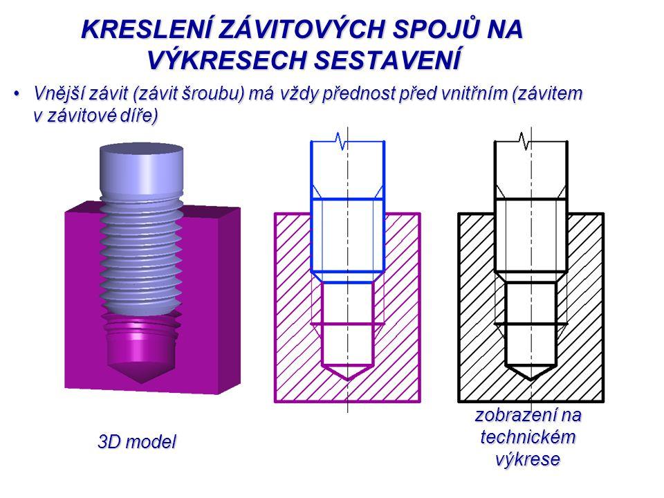 3D model zobrazení na technickém výkrese zobrazení na technickém výkrese KRESLENÍ ZÁVITOVÝCH SPOJŮ NA VÝKRESECH SESTAVENÍ Vnější závit (závit šroubu)