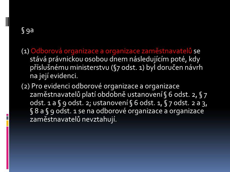 § 9a (1) Odborová organizace a organizace zaměstnavatelů se stává právnickou osobou dnem následujícím poté, kdy příslušnému ministerstvu (§7 odst.