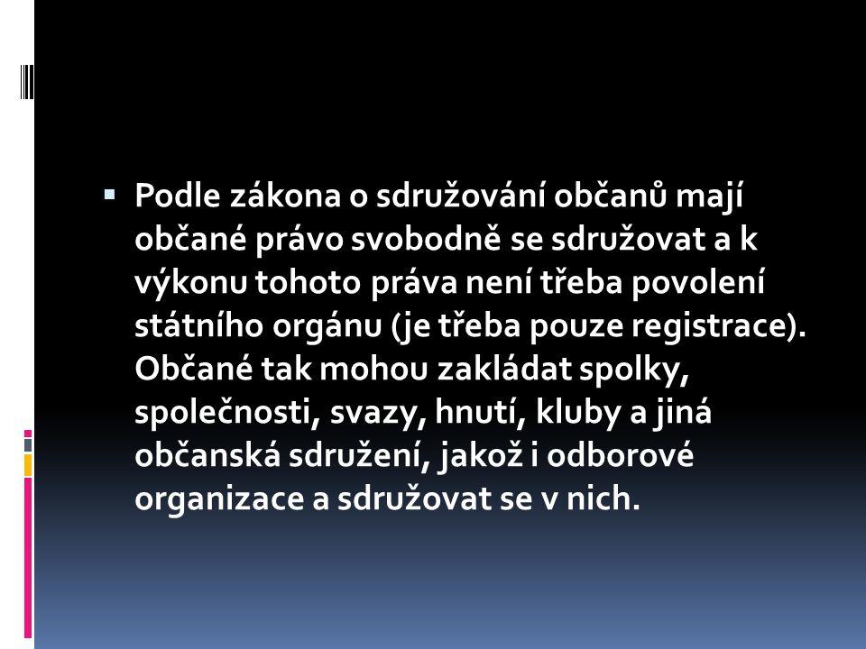  Podle zákona o sdružování občanů mají občané právo svobodně se sdružovat a k výkonu tohoto práva není třeba povolení státního orgánu (je třeba pouze registrace).
