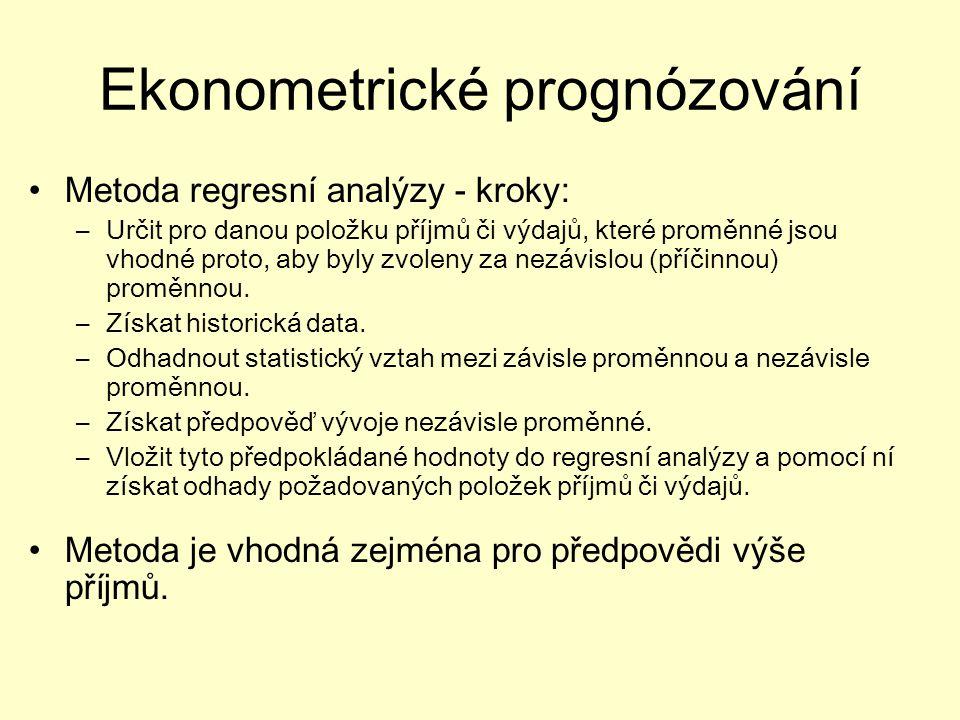 Ekonometrické prognózování Metoda regresní analýzy - kroky: –Určit pro danou položku příjmů či výdajů, které proměnné jsou vhodné proto, aby byly zvoleny za nezávislou (příčinnou) proměnnou.