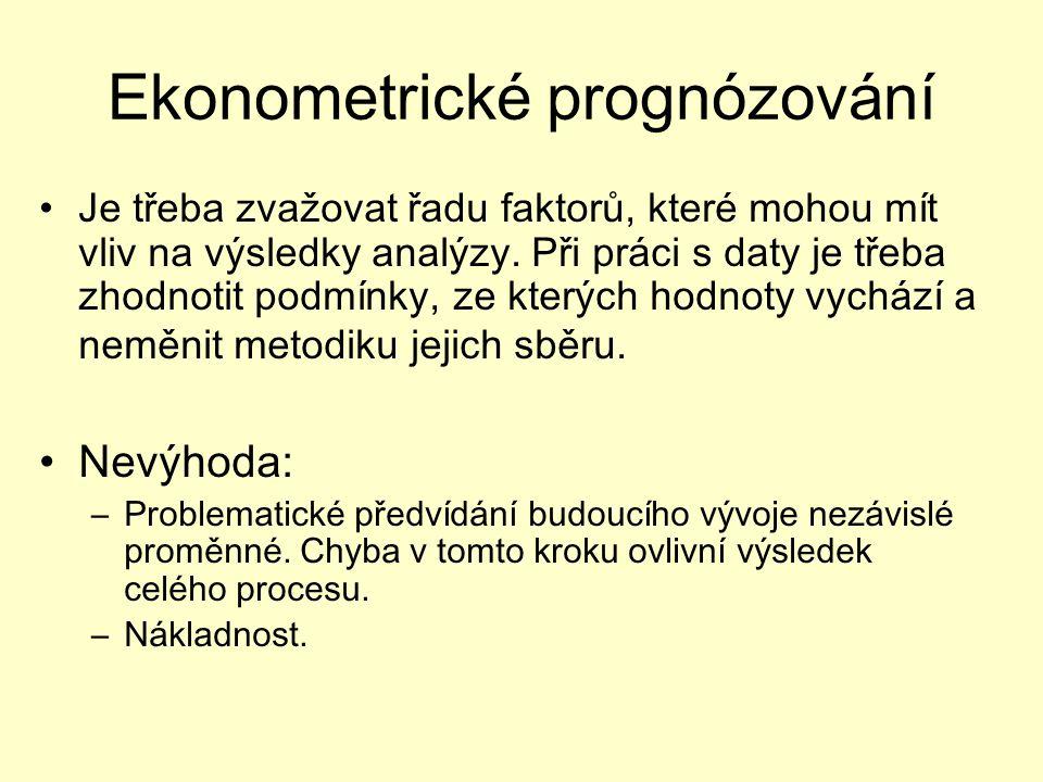 Ekonometrické prognózování Je třeba zvažovat řadu faktorů, které mohou mít vliv na výsledky analýzy.