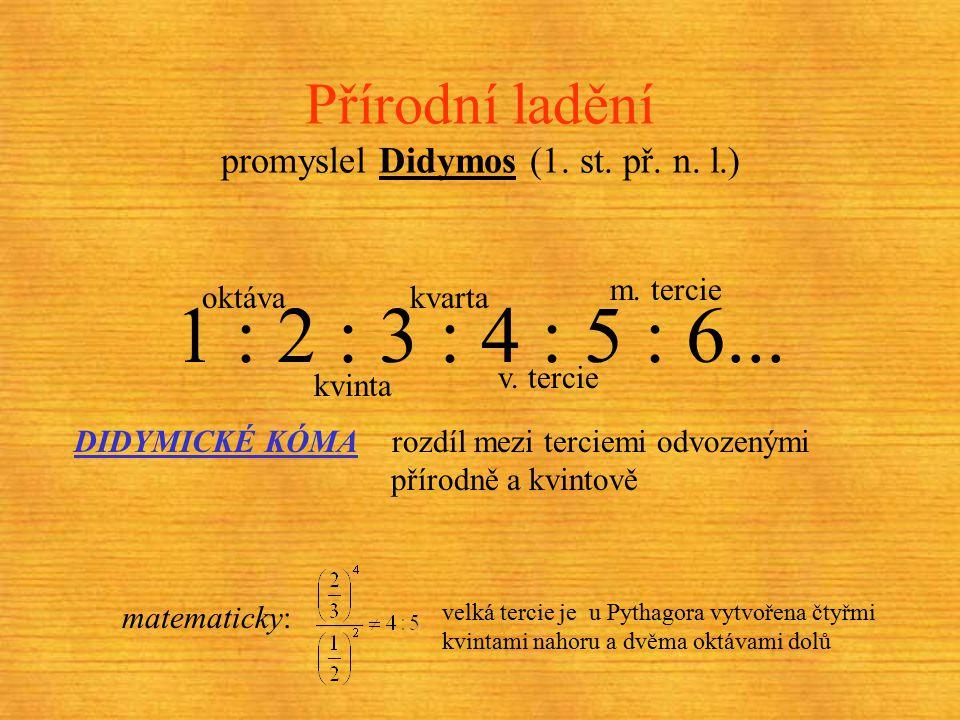 Pythagorejské ladění (6. st. př. n. l.) pokusy s monochordem vršení kvint na sebe a transpozice o oktávy dolů tzv. PYTHAGOREJSKÉ KÓMA zjistili slyšite